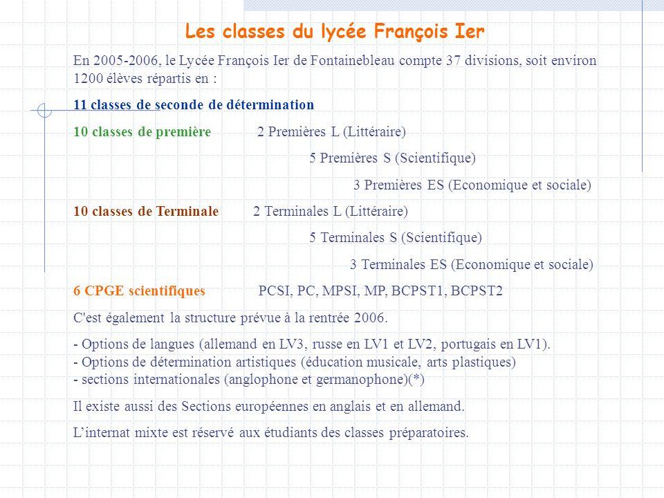 Les classes du lycée François Ier En 2005-2006, le Lycée François Ier de Fontainebleau compte 37 divisions, soit environ 1200 élèves répartis en : 11