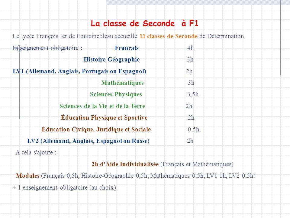 La classe de Seconde à F1 Le lycée François Ier de Fontainebleau accueille 11 classes de Seconde de Détermination. Enseignement obligatoire : Français