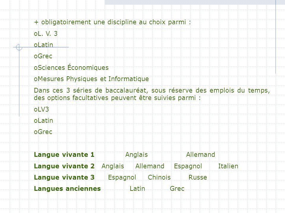 + obligatoirement une discipline au choix parmi : oL. V. 3 oLatin oGrec oSciences Économiques oMesures Physiques et Informatique Dans ces 3 séries de