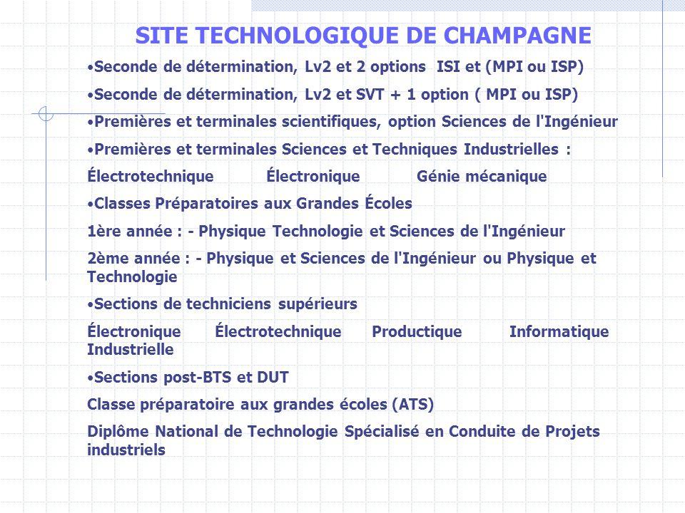 SITE TECHNOLOGIQUE DE CHAMPAGNE Seconde de détermination, Lv2 et 2 options ISI et (MPI ou ISP) Seconde de détermination, Lv2 et SVT + 1 option ( MPI o