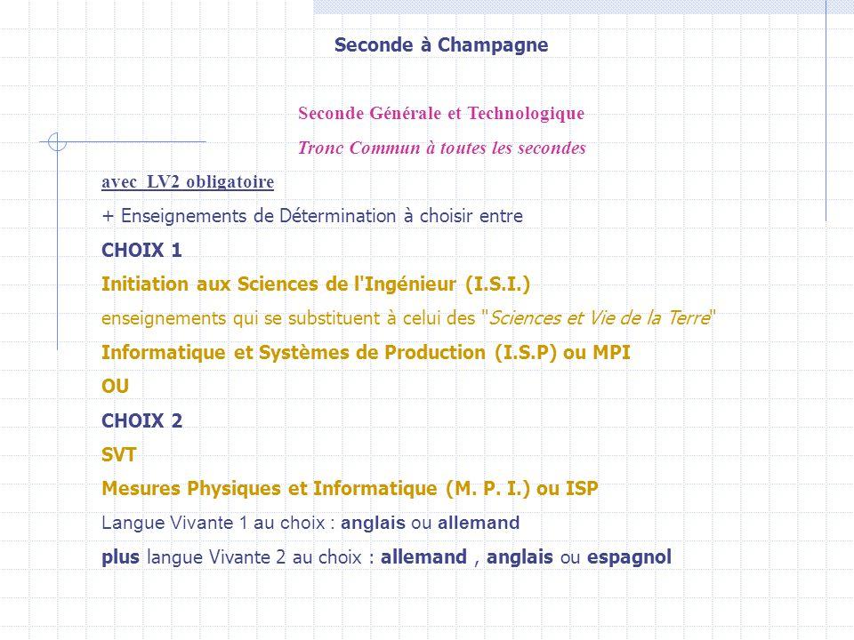 Seconde à Champagne Seconde Générale et Technologique Tronc Commun à toutes les secondes avec LV2 obligatoire + Enseignements de Détermination à chois