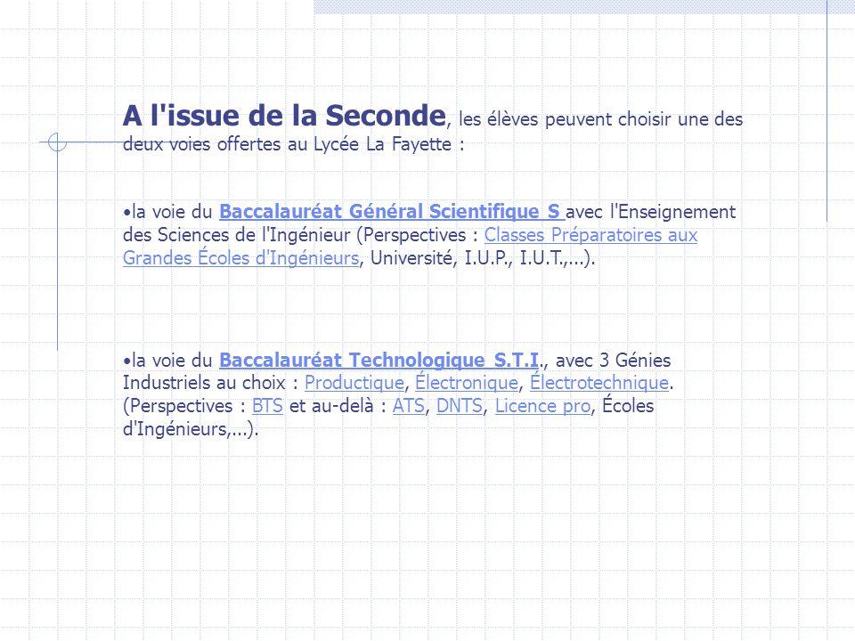 A l'issue de la Seconde, les élèves peuvent choisir une des deux voies offertes au Lycée La Fayette : la voie du Baccalauréat Général Scientifique S a