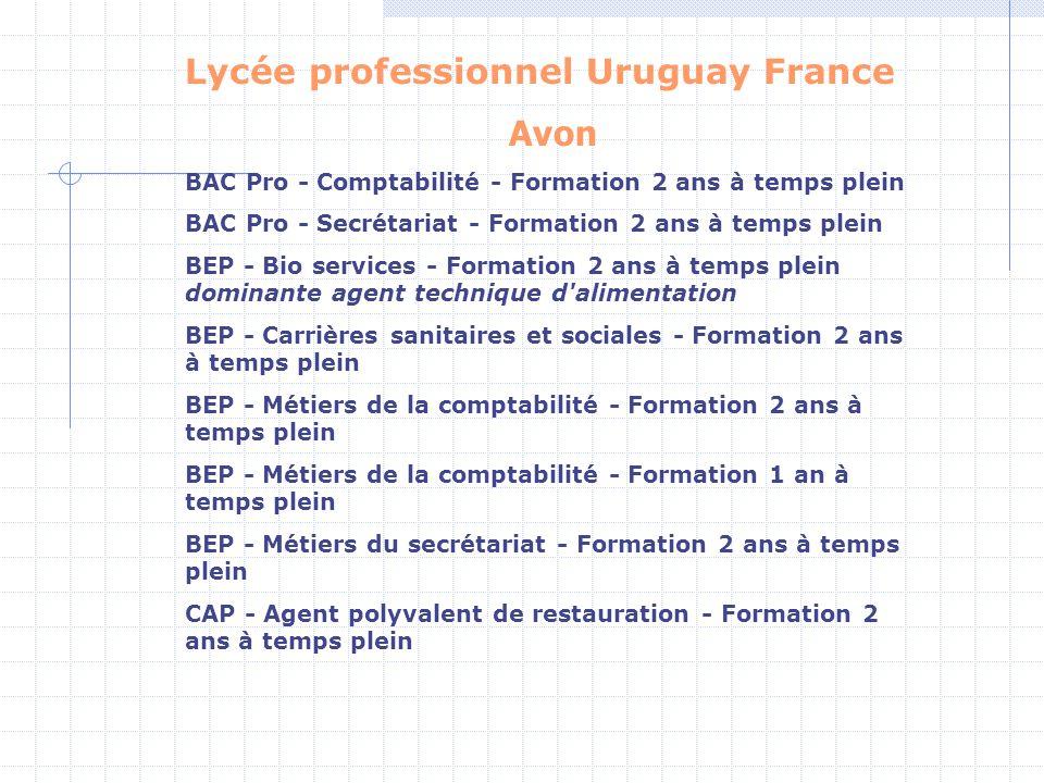 Lycée professionnel Uruguay France Avon BAC Pro - Comptabilité - Formation 2 ans à temps plein BAC Pro - Secrétariat - Formation 2 ans à temps plein B