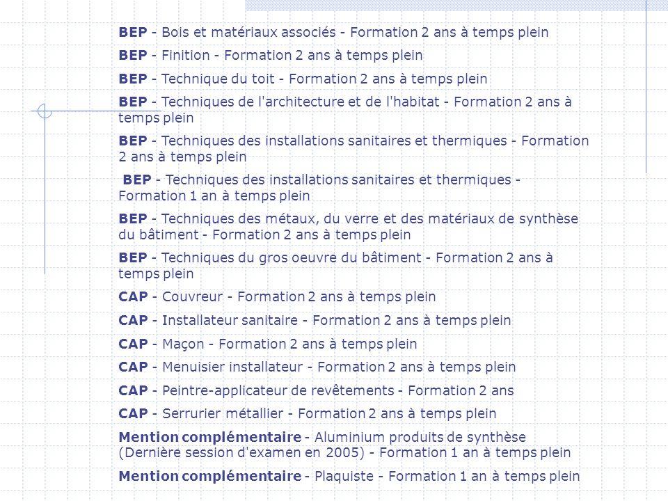 BEP - Bois et matériaux associés - Formation 2 ans à temps plein BEP - Finition - Formation 2 ans à temps plein BEP - Technique du toit - Formation 2