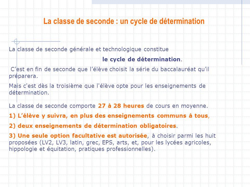 La classe de seconde : un cycle de détermination La classe de seconde générale et technologique constitue le cycle de détermination. Cest en fin de se