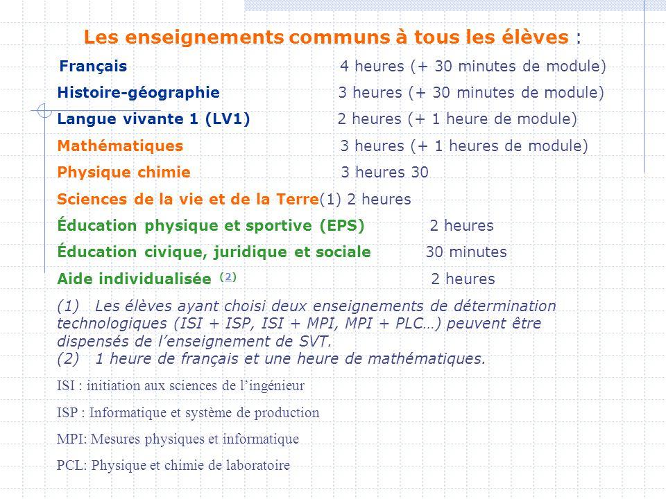 Les enseignements communs à tous les élèves : Français 4 heures (+ 30 minutes de module) Histoire-géographie 3 heures (+ 30 minutes de module) Langue