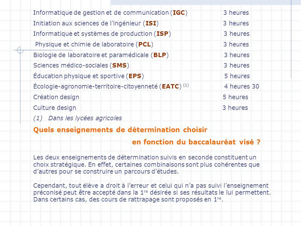 Informatique de gestion et de communication (IGC) 3 heures Initiation aux sciences de lingénieur (ISI) 3 heures Informatique et systèmes de production