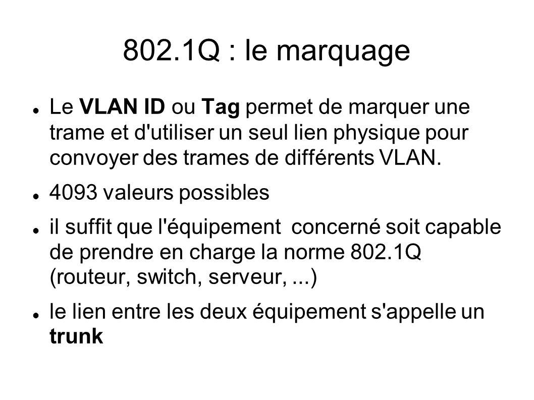 802.1Q : le marquage Le VLAN ID ou Tag permet de marquer une trame et d'utiliser un seul lien physique pour convoyer des trames de différents VLAN. 40