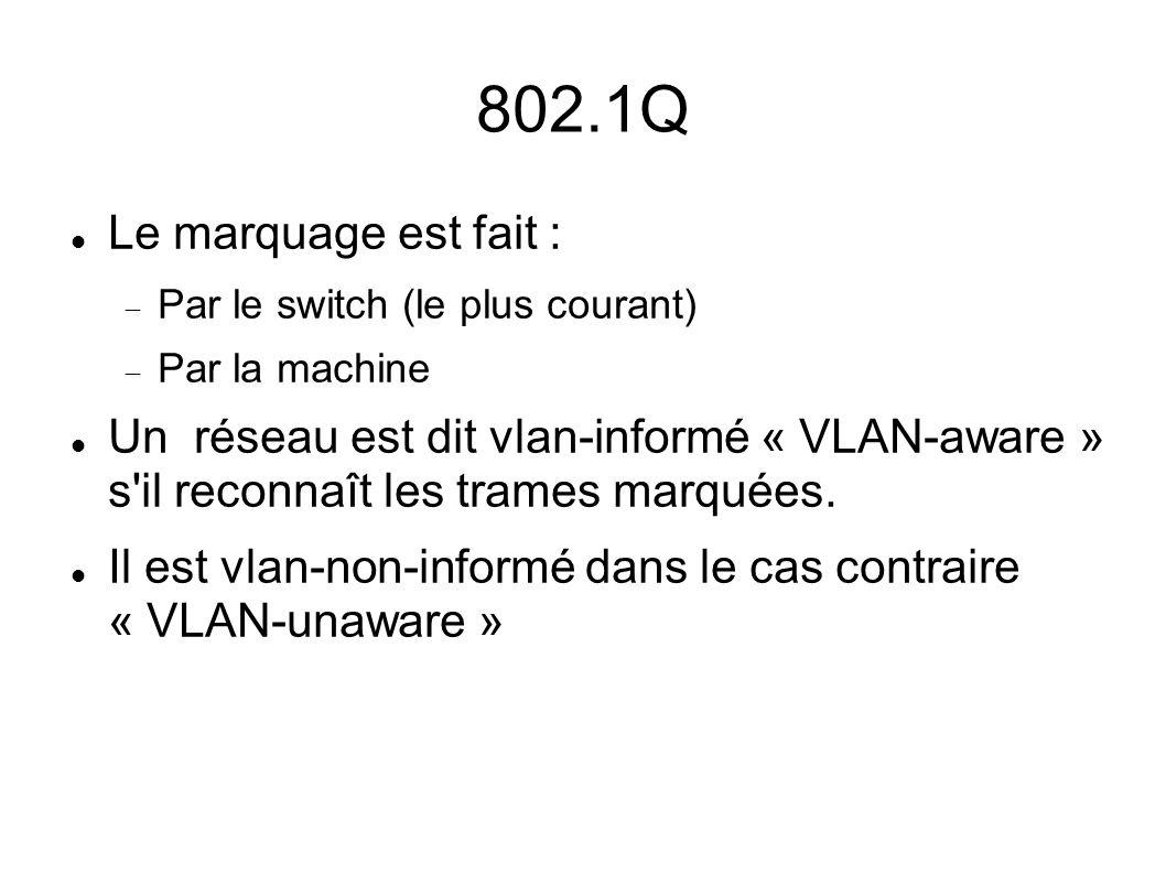 802.1Q Le marquage est fait : Par le switch (le plus courant) Par la machine Un réseau est dit vlan-informé « VLAN-aware » s'il reconnaît les trames m