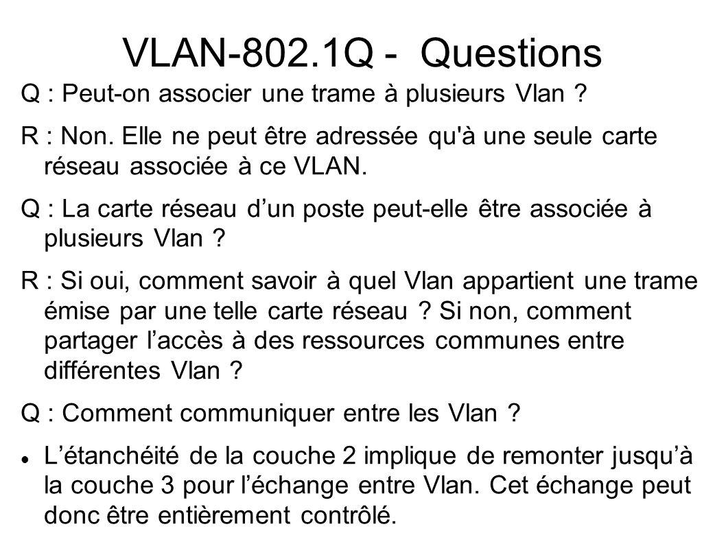VLAN-802.1Q - Questions Q : Peut-on associer une trame à plusieurs Vlan ? R : Non. Elle ne peut être adressée qu'à une seule carte réseau associée à c