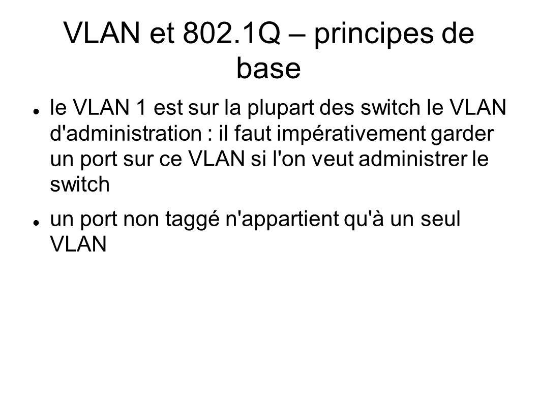 VLAN et 802.1Q – principes de base le VLAN 1 est sur la plupart des switch le VLAN d'administration : il faut impérativement garder un port sur ce VLA