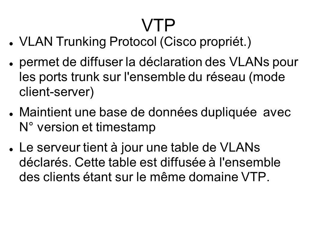 VTP VLAN Trunking Protocol (Cisco propriét.) permet de diffuser la déclaration des VLANs pour les ports trunk sur l'ensemble du réseau (mode client-se