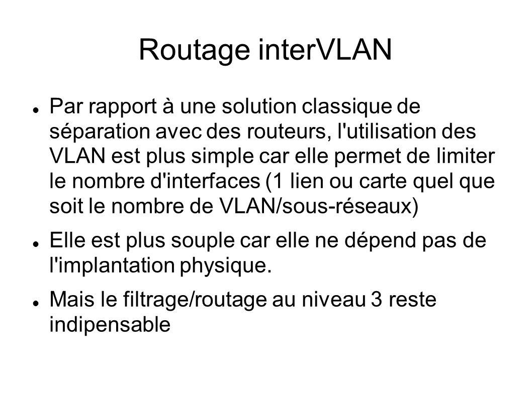 Routage interVLAN Par rapport à une solution classique de séparation avec des routeurs, l'utilisation des VLAN est plus simple car elle permet de limi