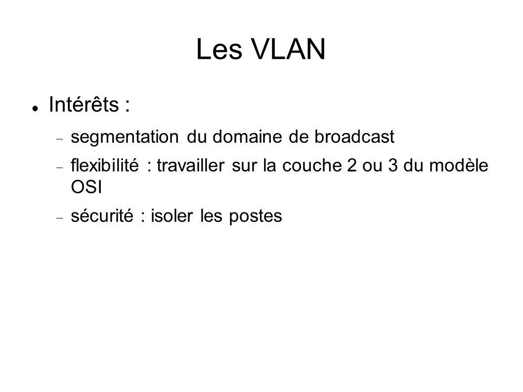 Les VLAN Intérêts : segmentation du domaine de broadcast flexibilité : travailler sur la couche 2 ou 3 du modèle OSI sécurité : isoler les postes