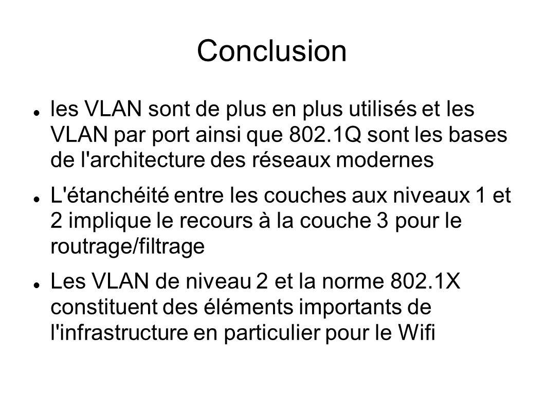 Conclusion les VLAN sont de plus en plus utilisés et les VLAN par port ainsi que 802.1Q sont les bases de l'architecture des réseaux modernes L'étanch