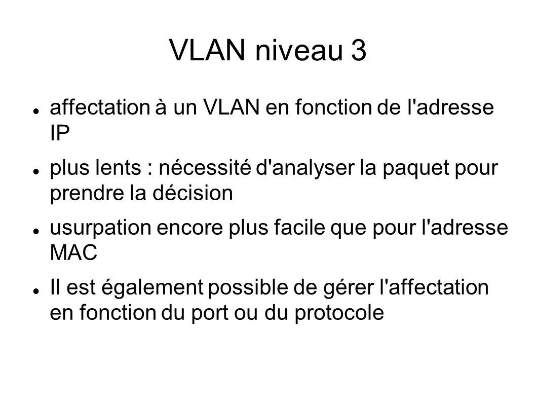 VTP VLAN Trunking Protocol (Cisco propriét.) permet de diffuser la déclaration des VLANs pour les ports trunk sur l ensemble du réseau (mode client-server) Maintient une base de données dupliquée avec N° version et timestamp Le serveur tient à jour une table de VLANs déclarés.