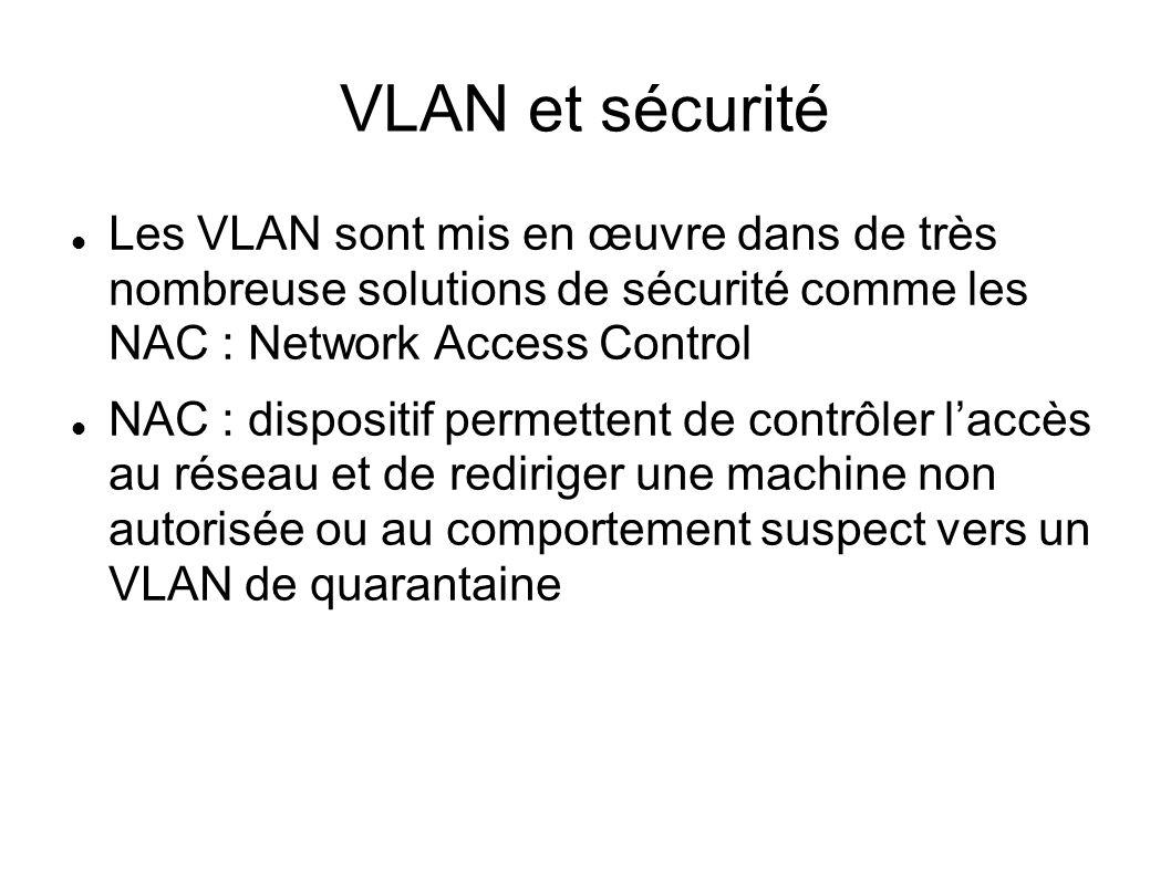 VLAN et sécurité Les VLAN sont mis en œuvre dans de très nombreuse solutions de sécurité comme les NAC : Network Access Control NAC : dispositif perme