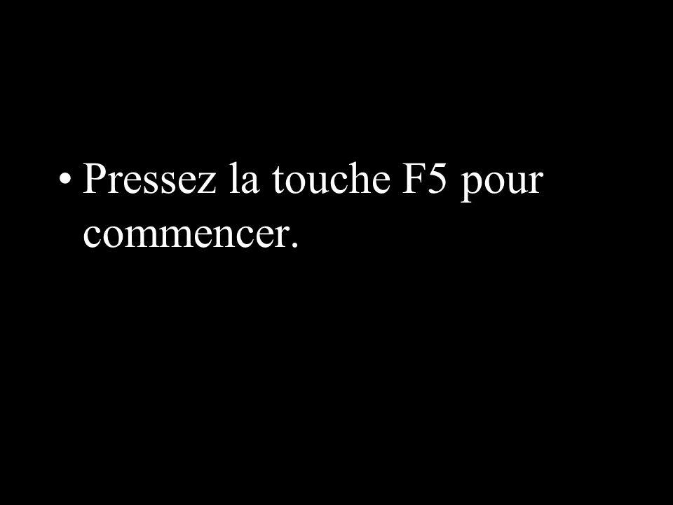 Pressez la touche F5 pour commencer.
