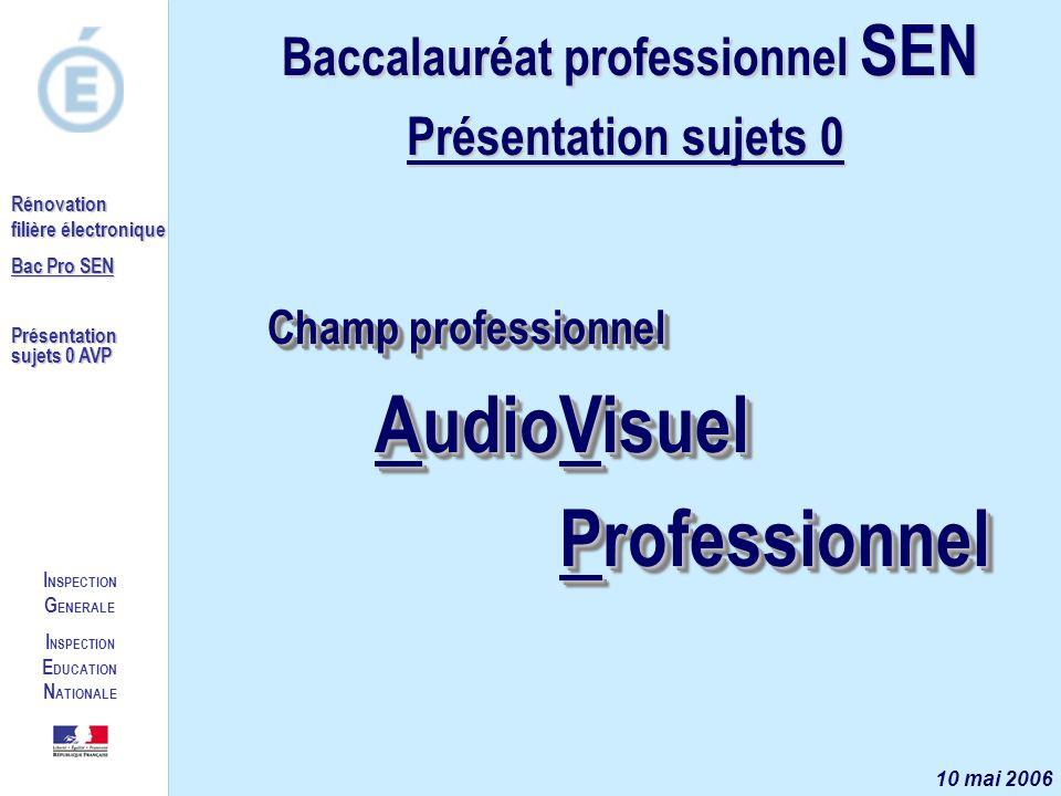 I NSPECTION G ENERALE I NSPECTION E DUCATION N ATIONALE Rénovation filière électronique Bac Pro SEN Présentation sujets 0 AVP Champ professionnel Audi