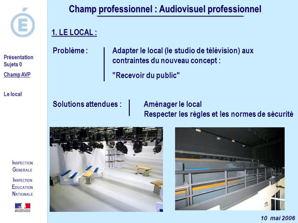 I NSPECTION G ENERALE I NSPECTION E DUCATION N ATIONALE Présentation Sujets 0 Champ AVP Le local 1. LE LOCAL : Problème : Adapter le local (le studio