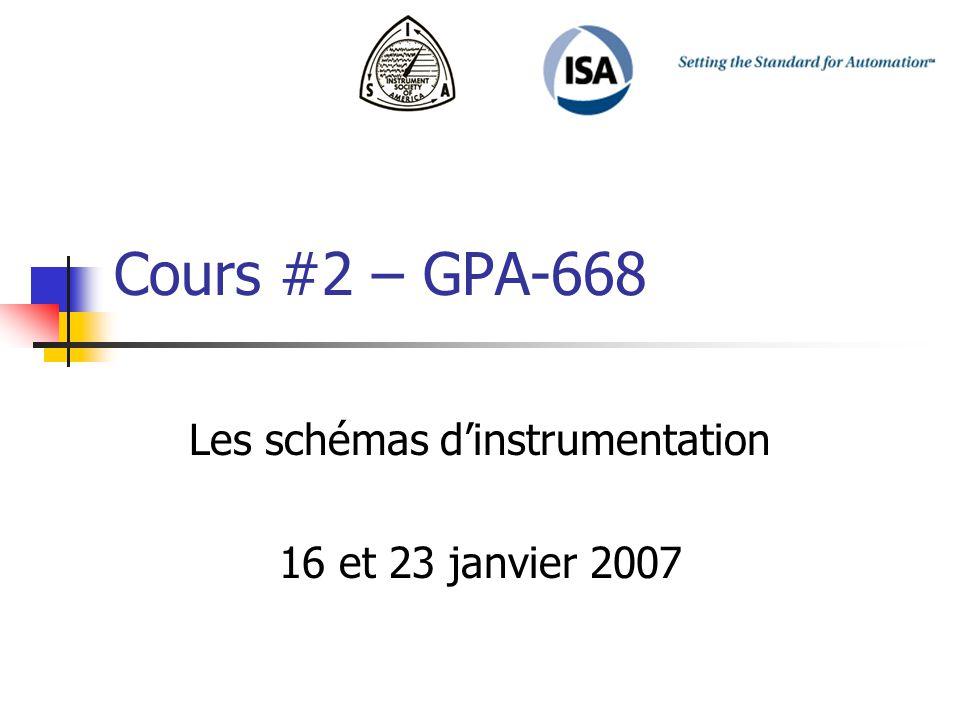 Cours #2 – GPA-668 Les schémas dinstrumentation 16 et 23 janvier 2007