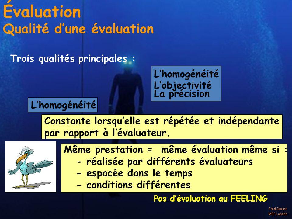 Trois qualités principales : Lhomogénéité Lobjectivité La précision Lhomogénéité Constante lorsquelle est répétée et indépendante par rapport à lévaluateur.
