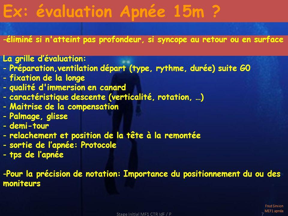 Stage initial MF1 CTR IdF / P7 Ex: évaluation Apnée 15m .