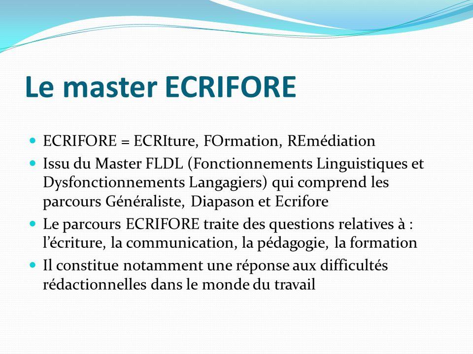 Le master ECRIFORE ECRIFORE = ECRIture, FOrmation, REmédiation Issu du Master FLDL (Fonctionnements Linguistiques et Dysfonctionnements Langagiers) qu
