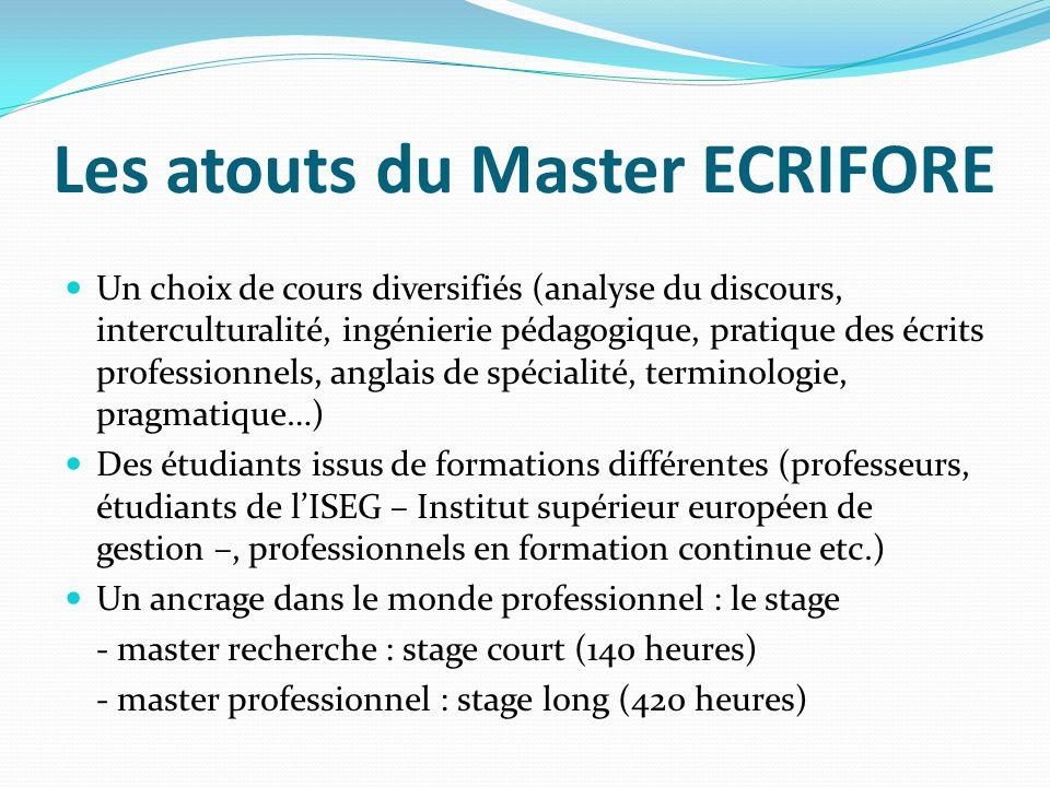 Les atouts du Master ECRIFORE Un choix de cours diversifiés (analyse du discours, interculturalité, ingénierie pédagogique, pratique des écrits profes