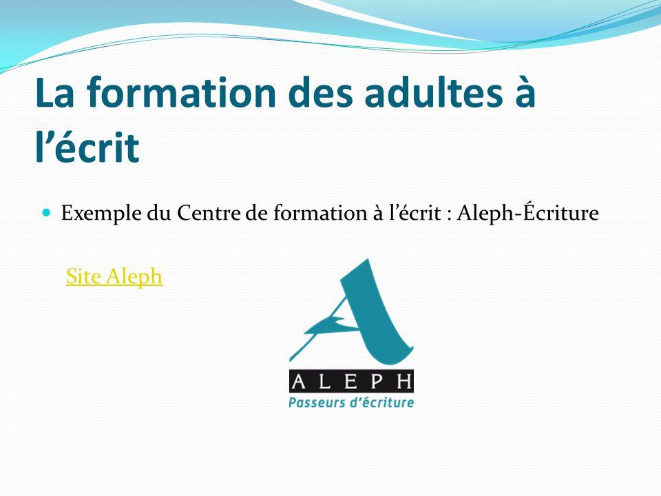 La formation des adultes à lécrit Exemple du Centre de formation à lécrit : Aleph-Écriture Site Aleph