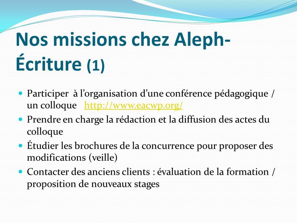 Nos missions chez Aleph- Écriture (1) Participer à lorganisation dune conférence pédagogique / un colloque http://www.eacwp.org/http://www.eacwp.org/