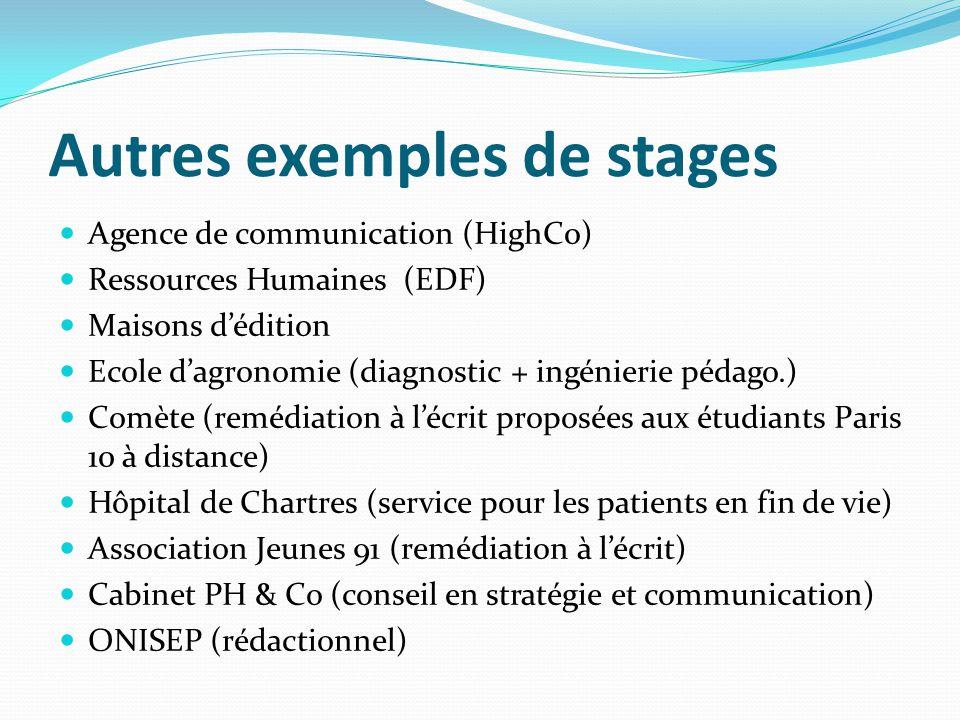 Autres exemples de stages Agence de communication (HighCo) Ressources Humaines (EDF) Maisons dédition Ecole dagronomie (diagnostic + ingénierie pédago