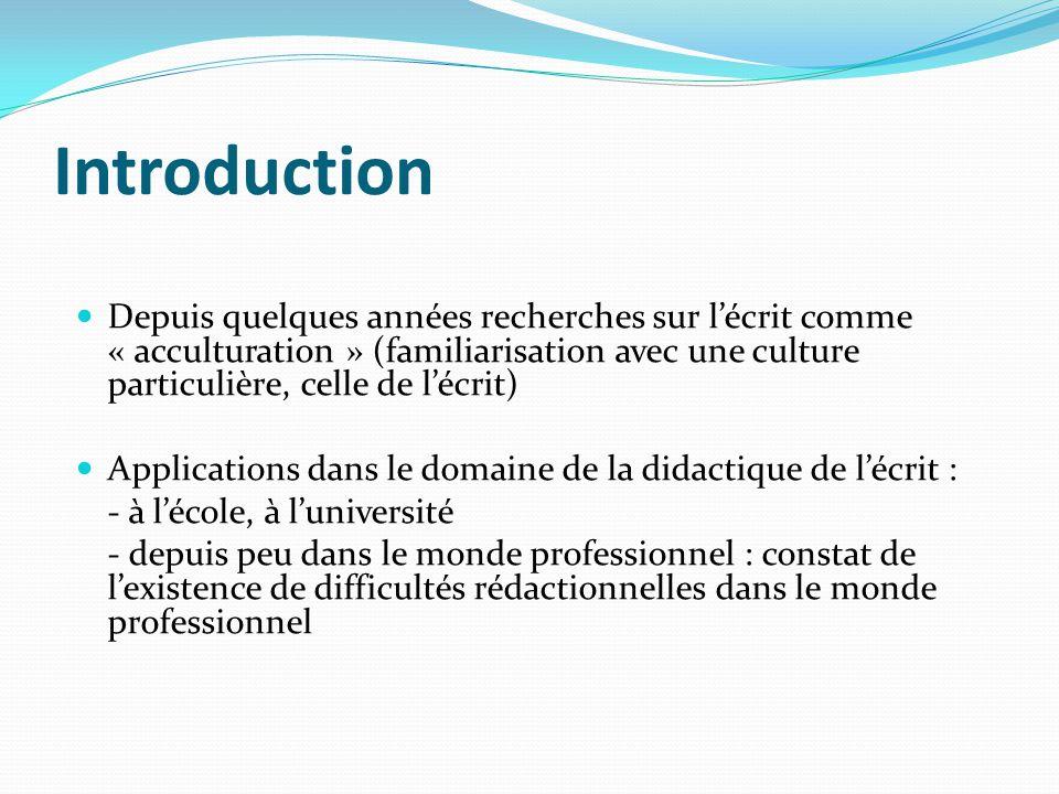 Introduction Depuis quelques années recherches sur lécrit comme « acculturation » (familiarisation avec une culture particulière, celle de lécrit) App