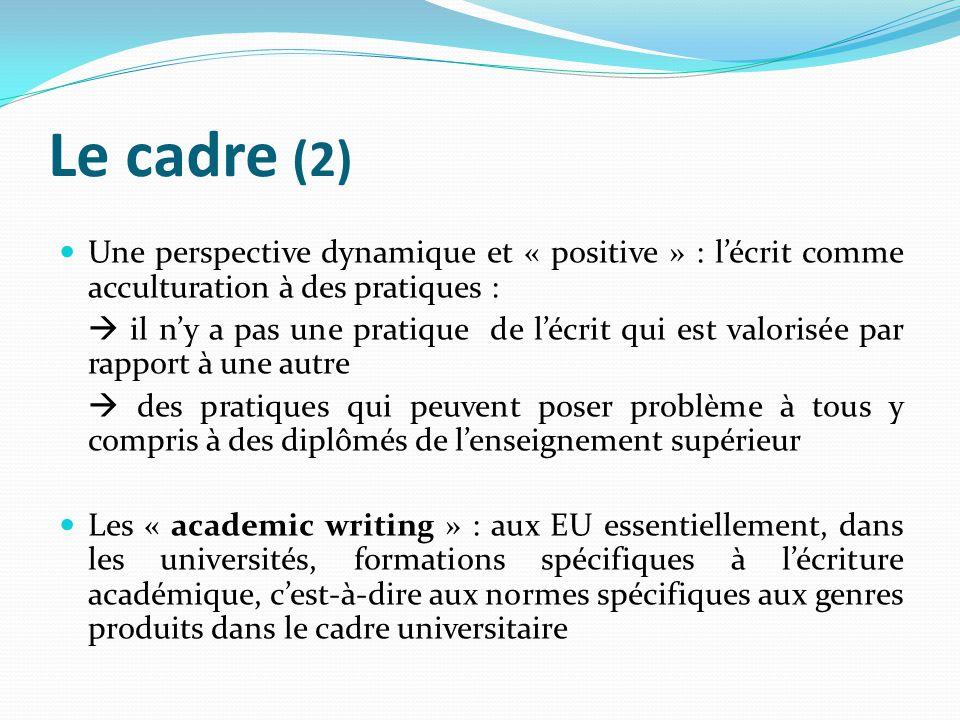 Le cadre (2) Une perspective dynamique et « positive » : lécrit comme acculturation à des pratiques : il ny a pas une pratique de lécrit qui est valor
