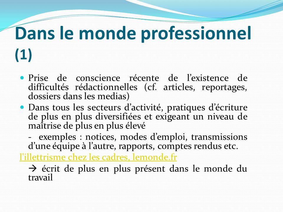 Dans le monde professionnel (1) Prise de conscience récente de lexistence de difficultés rédactionnelles (cf. articles, reportages, dossiers dans les
