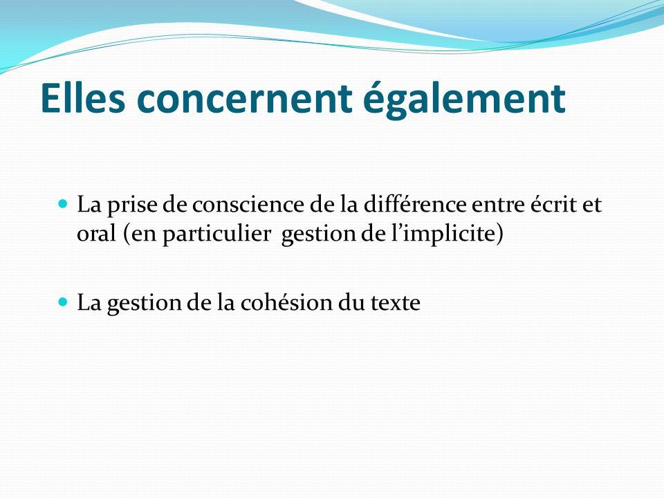 Elles concernent également La prise de conscience de la différence entre écrit et oral (en particulier gestion de limplicite) La gestion de la cohésio