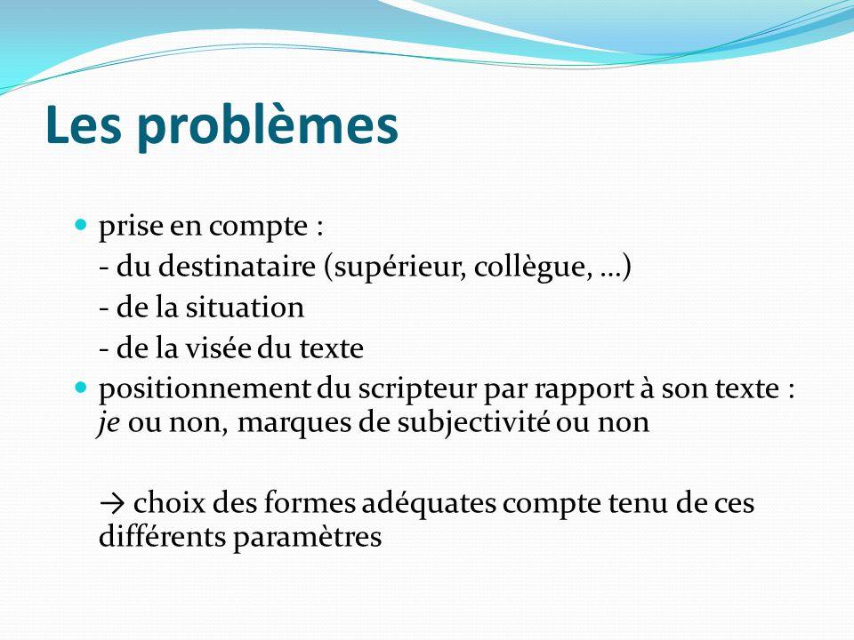 Les problèmes prise en compte : - du destinataire (supérieur, collègue, …) - de la situation - de la visée du texte positionnement du scripteur par ra