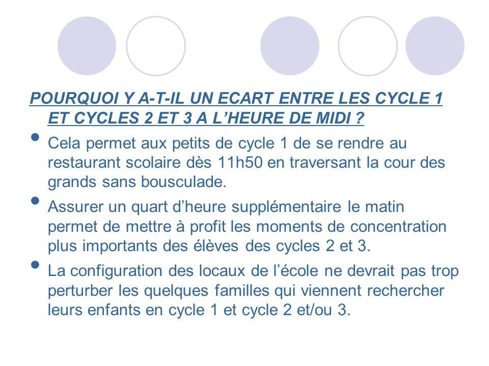 POURQUOI Y A-T-IL UN ECART ENTRE LES CYCLE 1 ET CYCLES 2 ET 3 A LHEURE DE MIDI ? Cela permet aux petits de cycle 1 de se rendre au restaurant scolaire