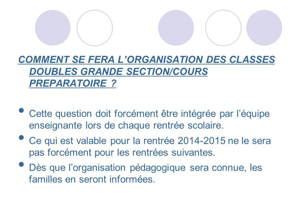 COMMENT SE FERA LORGANISATION DES CLASSES DOUBLES GRANDE SECTION/COURS PREPARATOIRE ? Cette question doit forcément être intégrée par léquipe enseigna