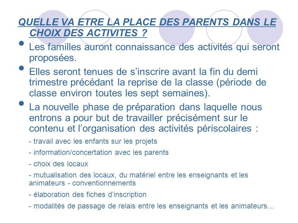 QUELLE VA ETRE LA PLACE DES PARENTS DANS LE CHOIX DES ACTIVITES ? Les familles auront connaissance des activités qui seront proposées. Elles seront te
