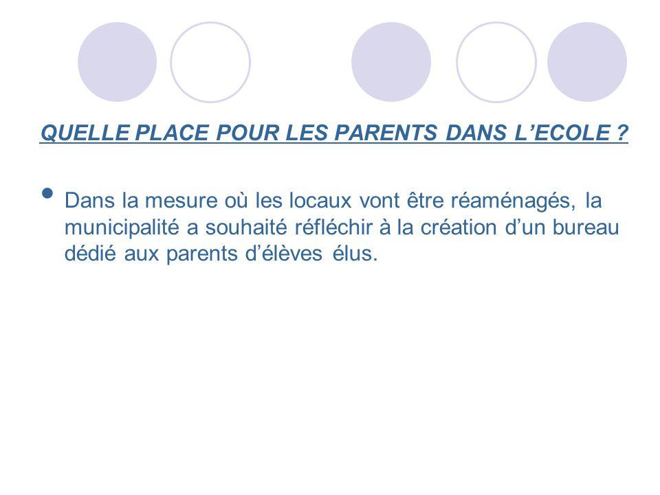 QUELLE PLACE POUR LES PARENTS DANS LECOLE ? Dans la mesure où les locaux vont être réaménagés, la municipalité a souhaité réfléchir à la création dun