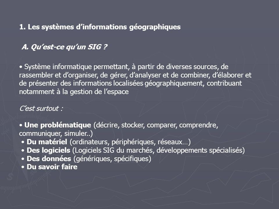 1. Les systèmes dinformations géographiques A. Quest-ce quun SIG ? Système informatique permettant, à partir de diverses sources, de rassembler et dor