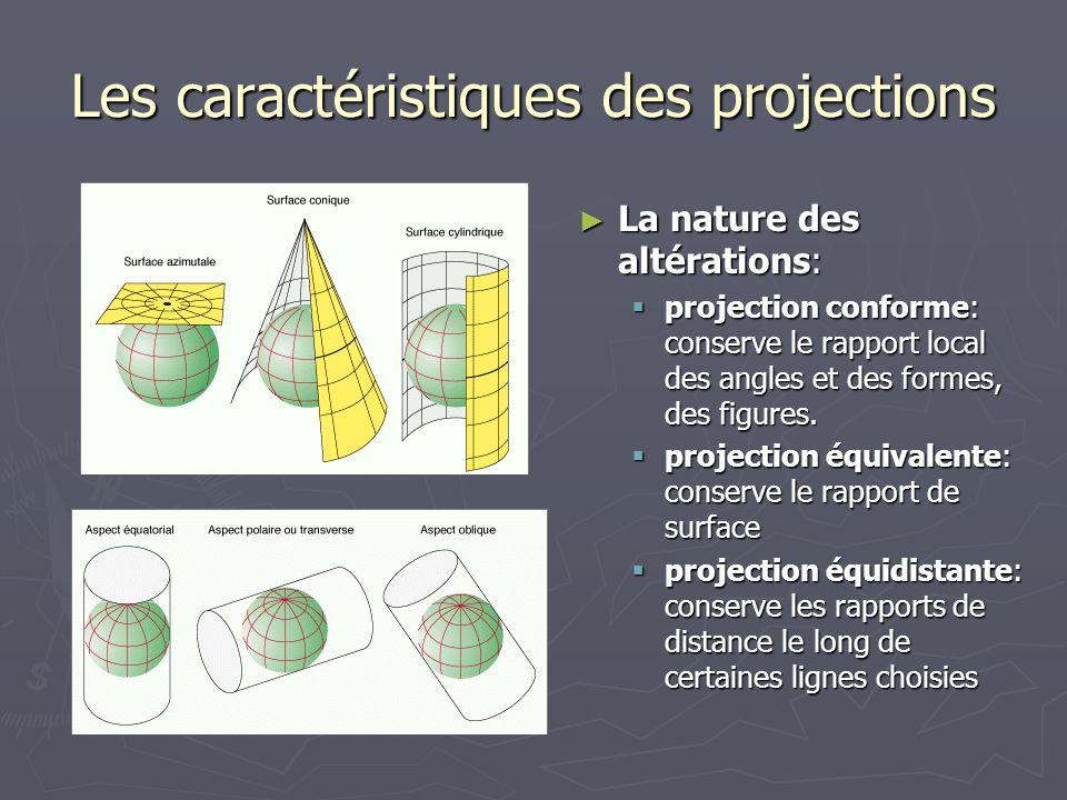 Les caractéristiques des projections La nature des altérations: La nature des altérations: projection conforme: conserve le rapport local des angles e