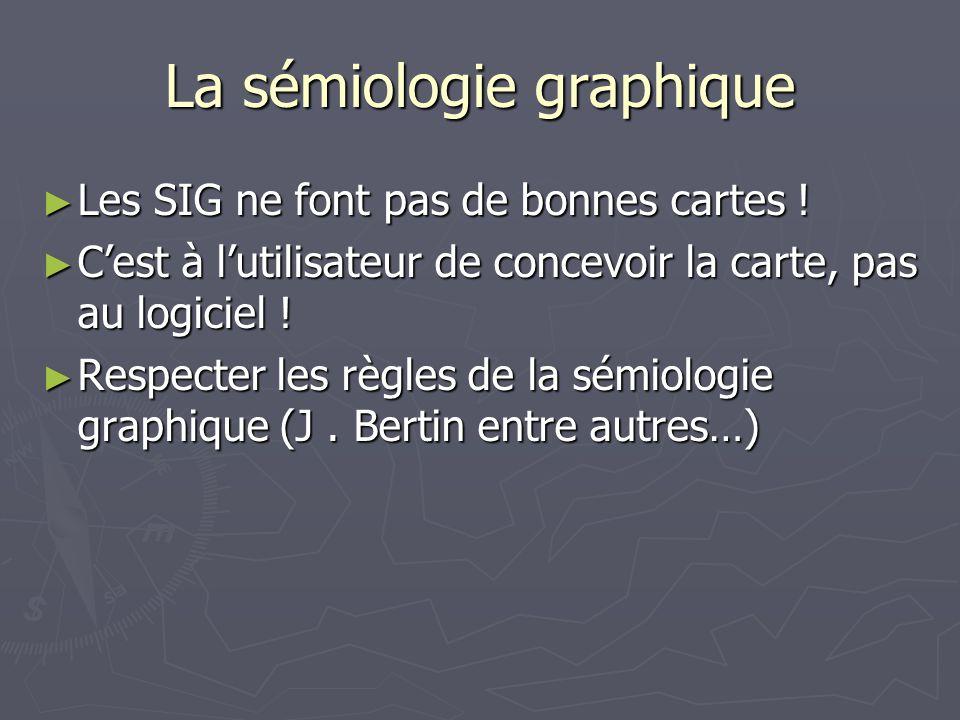 La sémiologie graphique Les SIG ne font pas de bonnes cartes ! Les SIG ne font pas de bonnes cartes ! Cest à lutilisateur de concevoir la carte, pas a