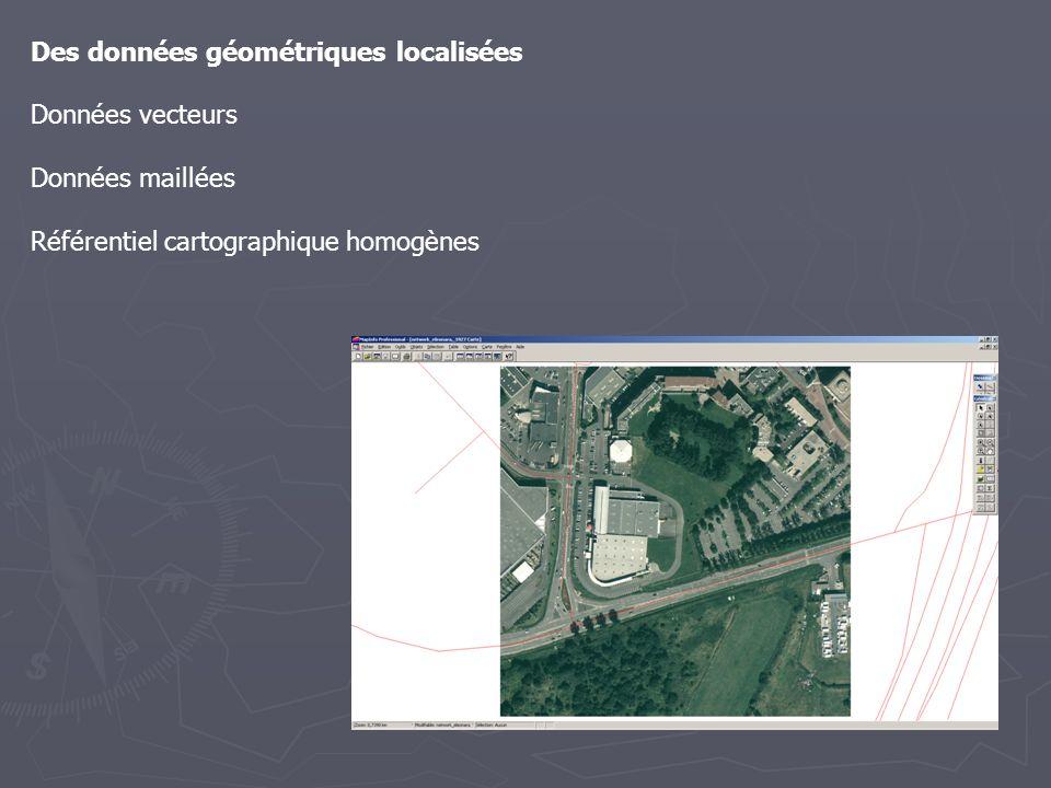 Des données géométriques localisées Données vecteurs Données maillées Référentiel cartographique homogènes