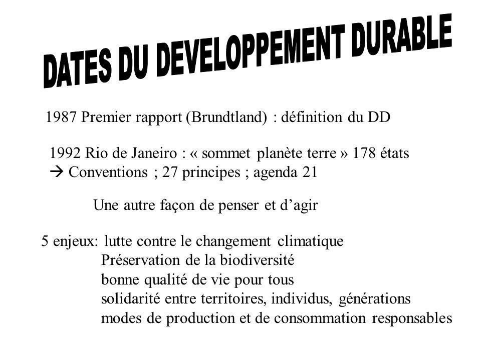 1987 Premier rapport (Brundtland) : définition du DD 1992 Rio de Janeiro : « sommet planète terre » 178 états Conventions ; 27 principes ; agenda 21 U