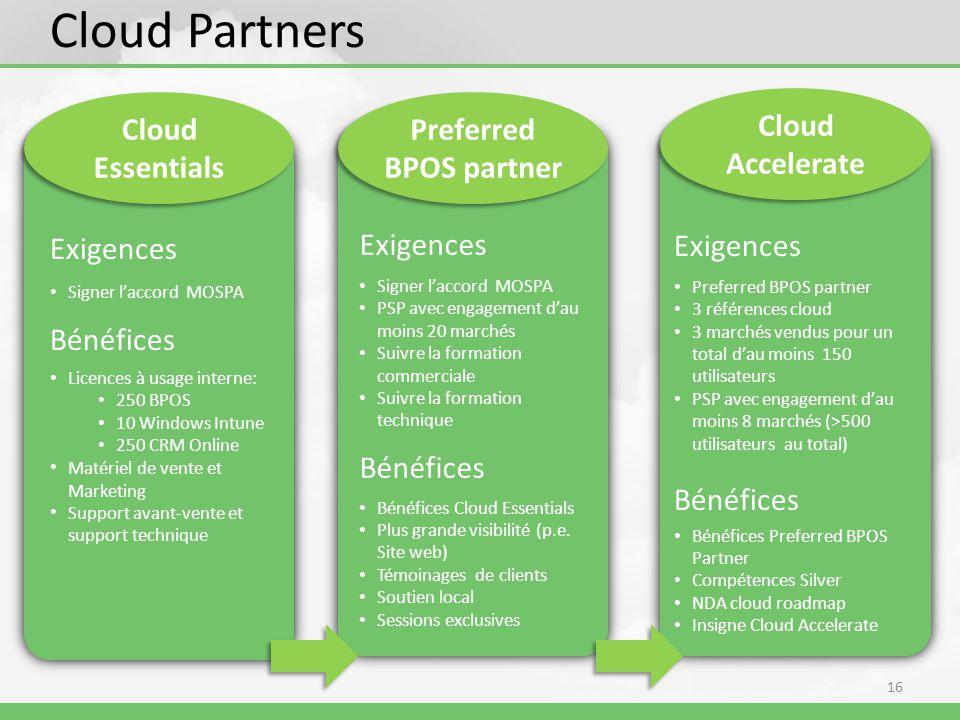 16 Cloud Partners Cloud Essentials Exigences Signer laccord MOSPA Bénéfices Licences à usage interne: 250 BPOS 10 Windows Intune 250 CRM Online Matériel de vente et Marketing Support avant-vente et support technique Cloud Accelerate Exigences Preferred BPOS partner 3 références cloud 3 marchés vendus pour un total dau moins 150 utilisateurs PSP avec engagement dau moins 8 marchés (>500 utilisateurs au total) Bénéfices Bénéfices Preferred BPOS Partner Compétences Silver NDA cloud roadmap Insigne Cloud Accelerate Exigences Signer laccord MOSPA PSP avec engagement dau moins 20 marchés Suivre la formation commerciale Suivre la formation technique Bénéfices Bénéfices Cloud Essentials Plus grande visibilité (p.e.