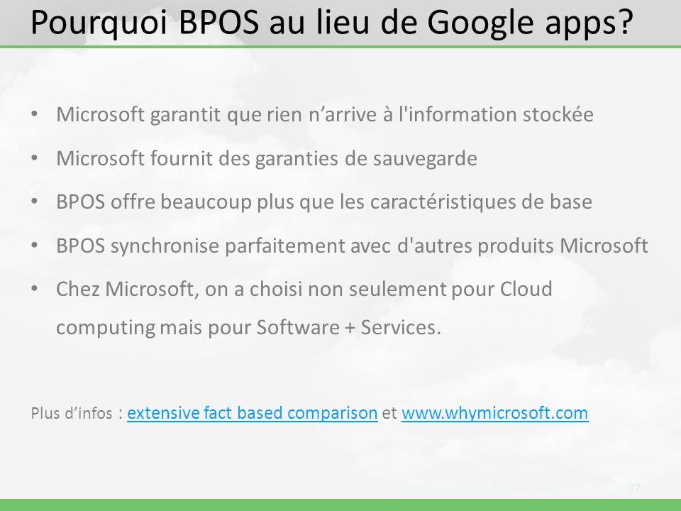 Pourquoi BPOS au lieu de Google apps.
