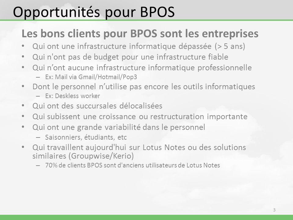 Support BPOS BPOS partner portal Plus d information produit et white papers (sécurité, SLA) Informations techniques Matériel de vente, matériel de marketing et daffaires BPOS Formations spécifiques sur loffre URL: https://partner.microsoft.com/belux-fr/productssolutions/productsonlineservices https://partner.microsoft.com/belux-fr/productssolutions/productsonlineservices Support: BPOS support: 0800 80 574 ou via le site webvia le site web – Pour tous les types de questions BPOS et soutien technique général Support avant-vente: +32 (2) 704 3259 of BENLTSA@Microsoft.comBENLTSA@Microsoft.com – Directives techniques sur les caractéristiques, fonctionnalités et intégration des solutions Microsoft et d assistance avec des problèmes dans un environnement de démonstration Support physique pour des marchés complexes – Engagement : Formations à la vente BPOS et technical deep-dive training – Contacter Microsoft BPOS Partner Account Manager pour le segment PME : larsvh@microsoft.comlarsvh@microsoft.com 14