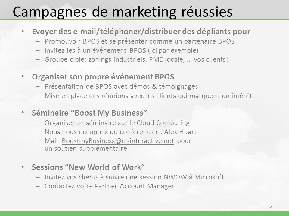 Campagnes de marketing réussies Evoyer des e-mail/téléphoner/distribuer des dépliants pour – Promouvoir BPOS et se présenter comme un partenaire BPOS – Invitez-les à un événement BPOS (ici par exemple) – Groupe-cible: zonings industriels, PME locale, … vos clients.